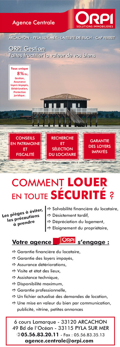Orpi centrale g rance agence immobili re sur arcachon for Agence immobiliere location vente
